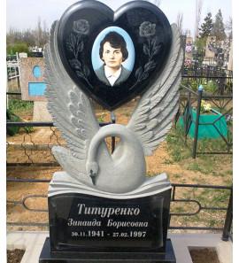 Памятник фигурный сердце с птицей ts0193