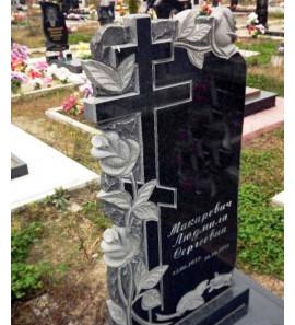Памятник вертикальный с резными цветами и крестом ts0211