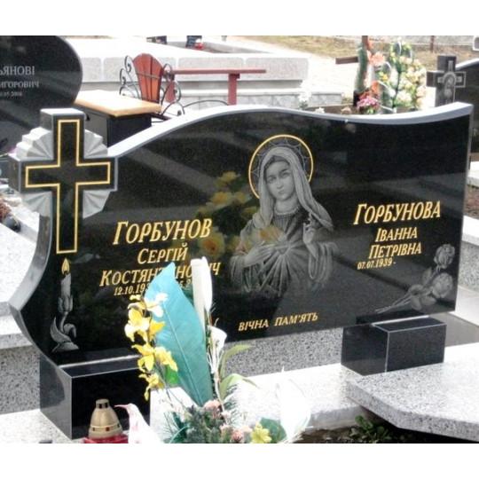 Памятник из черного гранита на двоих ts0216