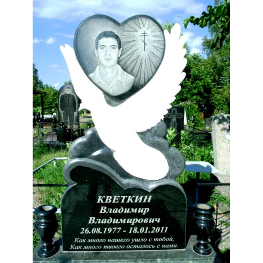 Памятник вертикальный сердце с птицей ts0024