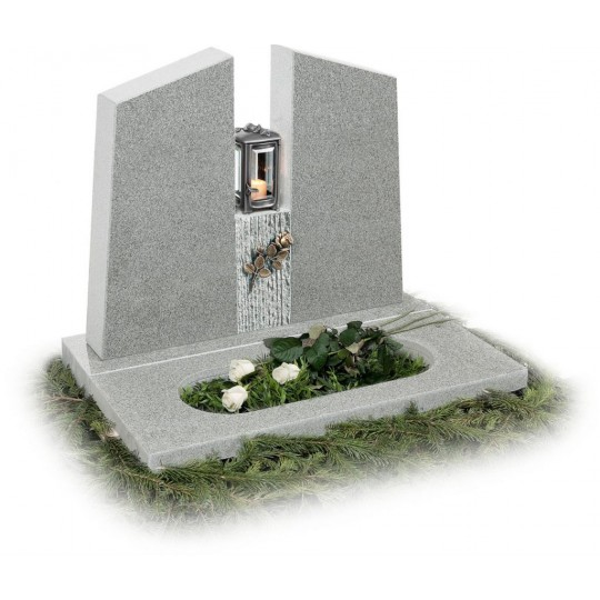 Памятник из серого гранита в европейском стиле