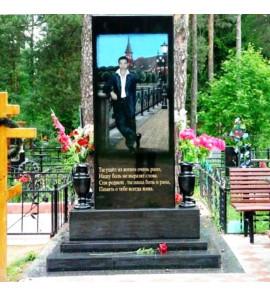 Памятник вертикальный из черного гранита с цветным портретом ts0163