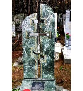 Зеленый памятник с Крестом на могилу ts0594