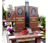 Памятник семейный из красного гранита с крестом ts0145