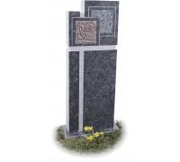 Оригинальный прямоугольный памятник из серого гранита ts0614