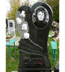 Памятник вертикальный с цветами ts0019
