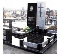 Православный памятник из серого и черного гранита ts0091