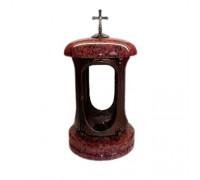 Лампадка из красного гранита с крестом ts0563