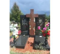 Двойной прямоугольный памятник с Крестом на могилу