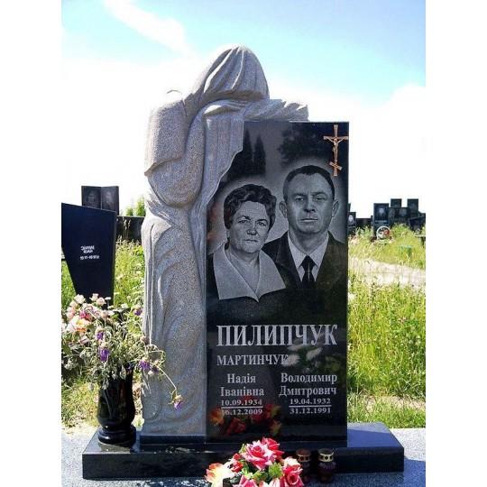 Семейный памятник с фигурой скорбящей матери ts0355