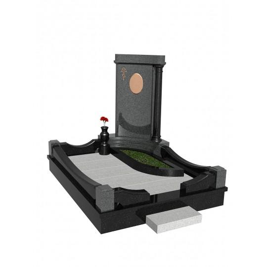 Гранитный одинарный памятник с колонной в 3D формате ts0519