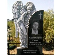 Памятник вертикальная стела с резным ангелом ts0132