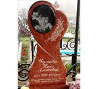 Памятник в форме Cердца из красного гранита для девочки ts0215