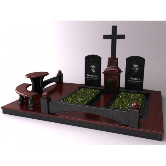 Семейный мемориальный памятник с Крестом в 3D формате ts0514