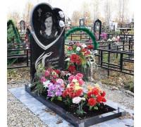Памятник вертикальный Сердце с цветами ts0253