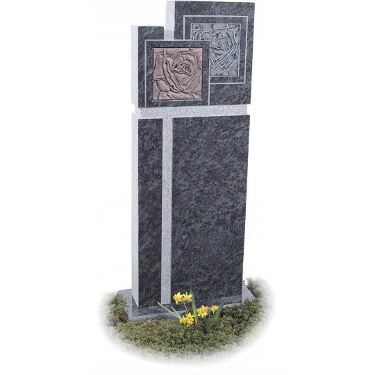 Оригинальный прямоугольный памятник из серого гранита