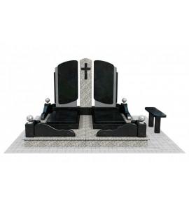Двойной мемориальный комплекс на могилу в 3D ts0521