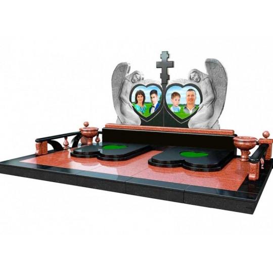 Семейный мемориальный комплекс Сердца и Ангелы в 3D формате ts0528